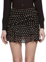 Saint Laurent Polka Dot Ruffled Mini Skirt