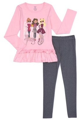 Sweet Butterfly Girls Long Sleeve Graphic Ruffle Hem Top and Legging, 2-Piece Outfit Set, Sizes 4-16