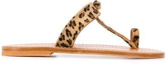 K. Jacques Open Toe Leopard Print Sandals