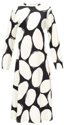 Marni Abstract Polka-dot Midi Dress - Black White