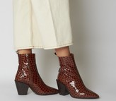 Office Avail Western Boots Brown Croc Leather