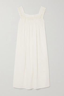 POUR LES FEMMES Tanya Lace-trimmed Cotton-voile Nightdress - White