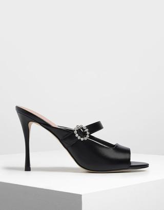 Charles & Keith Embellished Buckle Metallic Heels