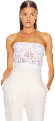 Alexander McQueen Lace Bustier Top in Optical White | FWRD