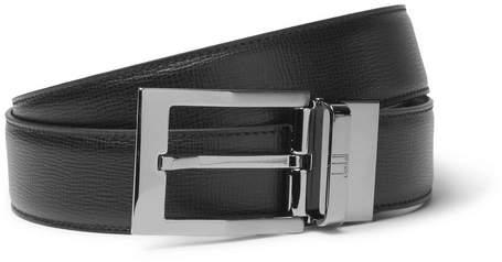 Dunhill 3.5cm Black Cross-Grain Leather Belt