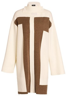 Akris Reversible Intarsia Cashmere Knit Coat