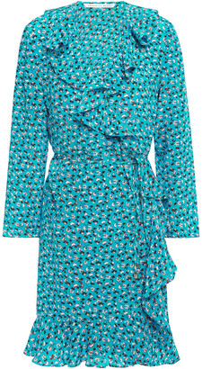 Veronica Beard Brisas Ruffled Floral-print Silk Crepe De Chine Mini Wrap Dress