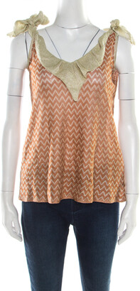 M Missoni Burnt Orange Chevron Tie Up Detail Sleeveless Top M