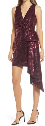 ONE33 SOCIAL Sequin Bow Front Sleeveless Sheath Cocktail Dress