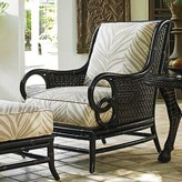 Tommy Bahama Marimba Lounge Chair Outdoor Lounge Chair Fabric: Beige/Cream Leaf