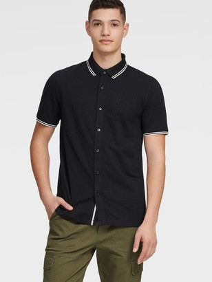 DKNY Unisex Knit Shirt With Contrast Stripes - Black - Size XXL