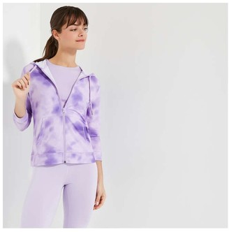 Joe Fresh Women's Print French Terry Hoodie, Lilac (Size XL)