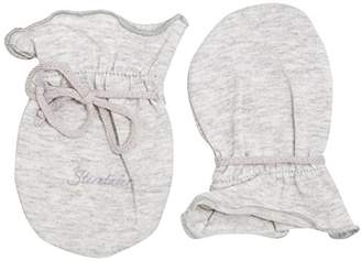 Sterntaler Scratch Mittens for Babies in Jersey, Age: 0-6 Months, Size: 0, Silver