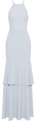 Halston Tiered Mesh-paneled Crepe Gown