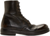 Marsèll Black Leather Combat Boots