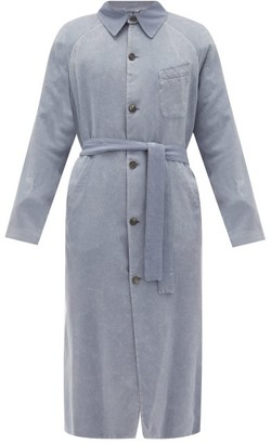 Rochas Marble-dyed Silk Trench Coat - Mens - Light Blue