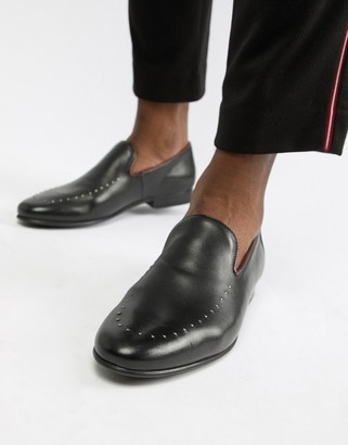 Walk London Study studded loafers in black leather