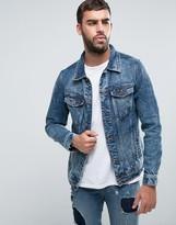 Pull&Bear Denim Jacket In Mid Wash Blue