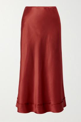 Lee Mathews Stella Silk-satin Midi Skirt - Brick