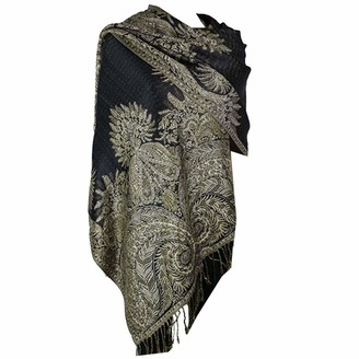 Silverfever Silver Fever Pashmina - Jacquard Paisley Shawl - Stylish Scarf - Double Sided Wrap - - One Size