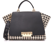 Zac Posen Eartha Gingham Straw Soft Top Handle Bag