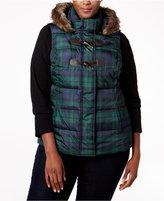 Charter Club Plus Size Faux-Fur-Trim Plaid Puffer Vest, Only at Macy's