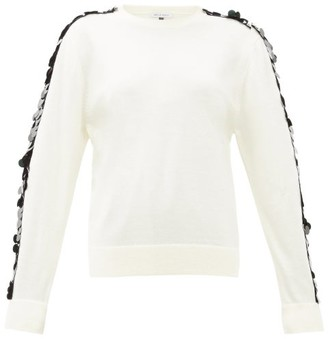 Bella Freud Lady Day Sequin-sleeve Wool Sweater - Womens - Ivory