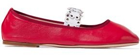 Red(V) Flower Puzzle Studded Leather Ballet Flats