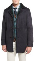 Kiton Lambskin Leather Coat w/Contrast Shearling Lining