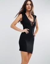 Asos Lace Insert Plunge Mini Dress