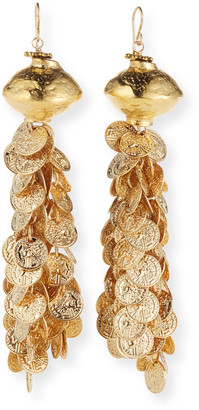 Devon Leigh Gold Bead Gypsy Coin Chandelier Earrings