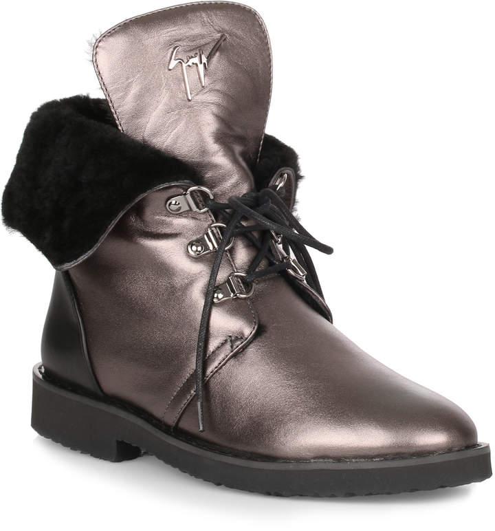 Giuseppe Zanotti Fortune metallic grey leather boot