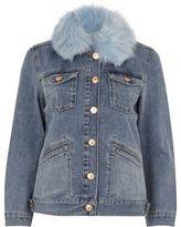 River Island Womens Mid blue faux fur trim denim jacket
