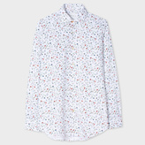 Paul Smith Men's Tailored-Fit White 'Spring Floral' Print Double-Cuff Shirt