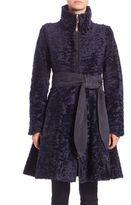 The Fur Salon Swakara Lamb Fur Belted Coat