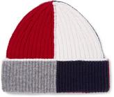 Thom Browne Colour-block Ribbed Wool Beanie - Navy