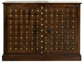 Stylecraft Solid Mango 2 Door Wood Storage Cabinet with Metal Brass Design Accents - Chestnut