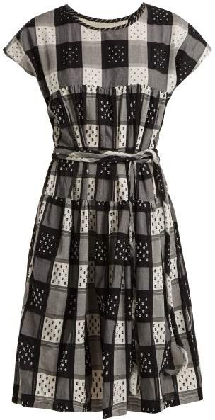 Ace&Jig Austin Tie Waist Checked Cotton Dress - Womens - Black White