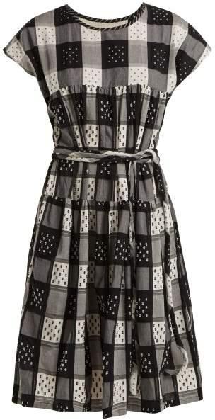 Ace & Jig - Austin Tie Waist Checked Cotton Dress - Womens - Black White