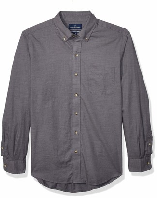 Buttoned Down Amazon Brand Men's Classic Fit Supima Cotton Brushed Twill Plaid Sport Shirt