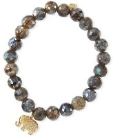 Sydney Evan 8mm Faceted Labradorite Beaded Bracelet with Diamond Elephant Charm