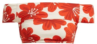 Dodo Bar Or Ceccile Floral-print Off-the-shoulder Bikini Top - Womens - Cream Print