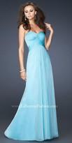 La Femme Strapless Pleated Bodice Cross Back strap Evening Dresses