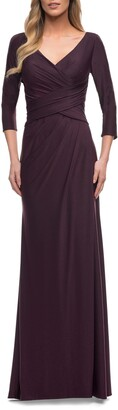 La Femme Ruched Bodice Sheath Gown