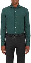 Barneys New York Men's Cotton Flannel Shirt-GREEN
