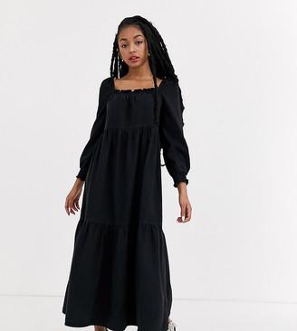 ASOS DESIGN Petite denim prairie midi smock dress in black