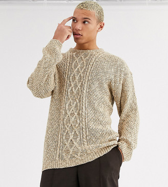 Asos Design DESIGN Tall oversized chunky cable sweater in oatmeal twist-Brown
