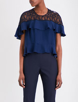 Sandro Silk-satin and lace top