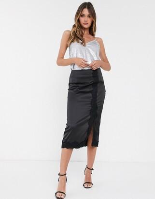 Vila satin midi skirt with lace trim split-Black