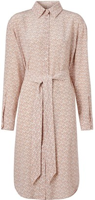 Burberry Monogram Print Crepe De Chine Shirt Dress
